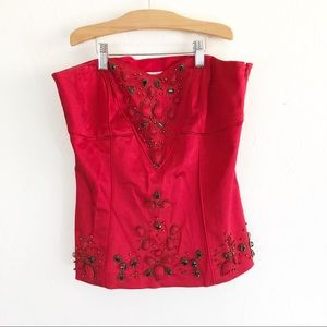 Cache Red Jeweled  Corset Satin Side Zipper Blouse